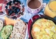 Simple Cheddar Frittata & Yogurt Parfait Smorgasbord